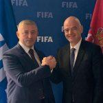 FA OF SERBIA PRESIDENT, SLAVIŠA KOKEZA WITH  FIFA PRESIDENT, GIANNI INFANTINO IN ZURICH